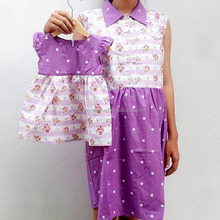 Appliqued Parenting Female Dressing Mother and Daughter Casual Dresses Lavender Women Dress