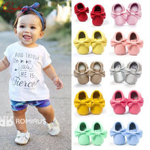 2017 Newborn Baby Shoes Fringed Bow Infant PU Leather Shoes First Walker Baby Moccasins Wholesale