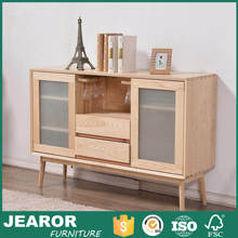 North European Natural Color Dining Room Sideboard with Frosted Glass Door 2204