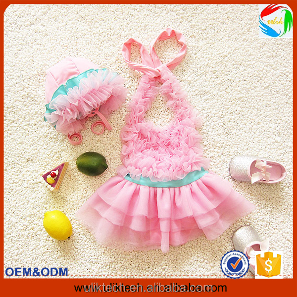 2016 fashion two pieces baby girl bathing suit for beachwear bikini girl child wholesale girl swimming suit(UKS021-023)