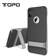 New hot item 2 in 1 TPU PC Aluminum frame holder stand mobile cell phone Case Cover for iPhone X 8 6 7 plus for tablet
