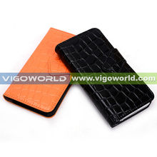 Wallet Style Magnetic Flip Textured Crocodile PU Leather Case with Credit Card / ID Slots for iPhone 5