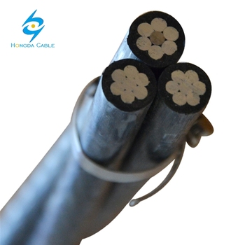 Low Voltage XLPE / PE Insulation Aerial Bundled Cable Triplex Service Drop Cable