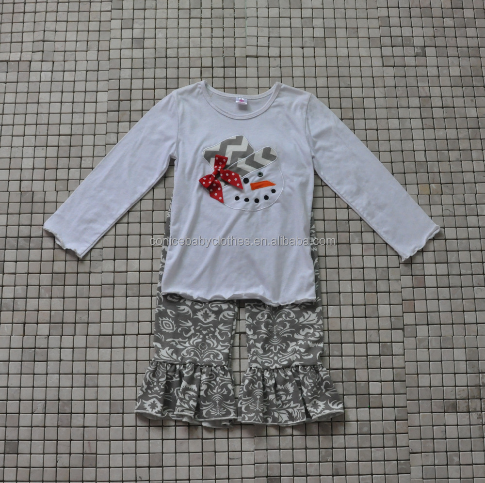 wholesale kids fall snow man chiristmas boutique outfits