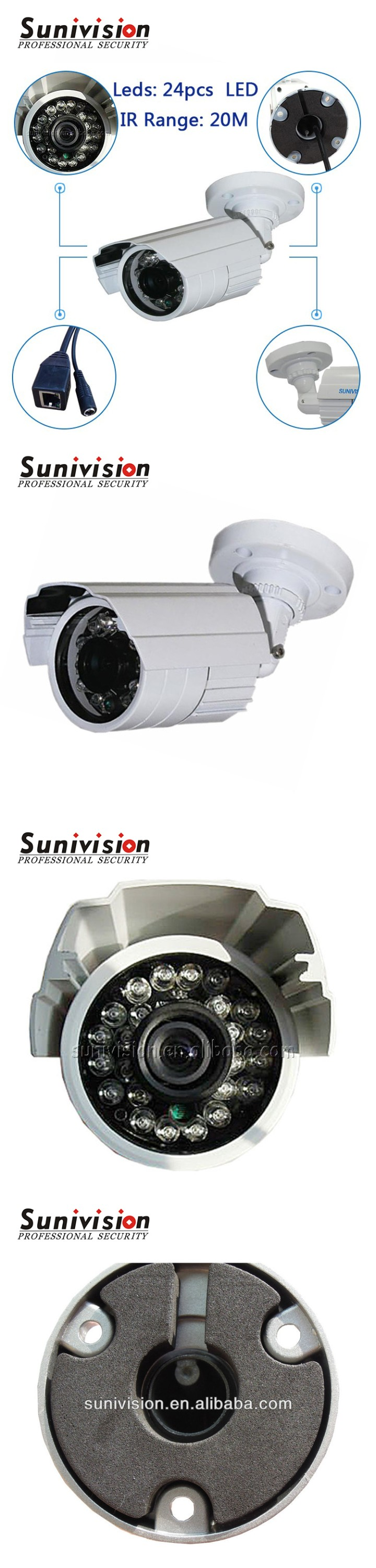 New model China 24pcs IR leds AHD 720P metal bullet cctv camera 1080N dvr kit