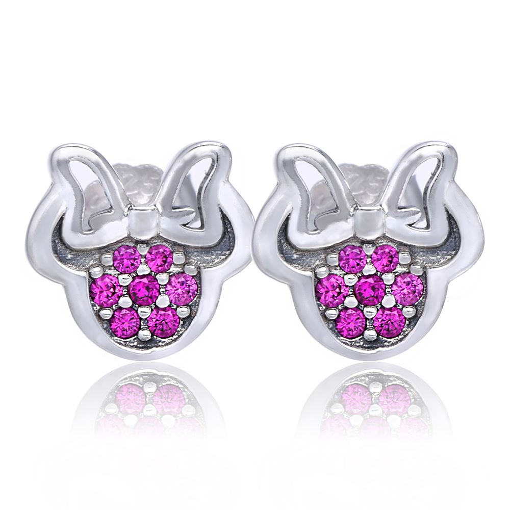 2016 Autumn New Sparkling Cartoon Mouse Stud Earring Authentic 925 Sterling Silver Red CZ Earrings For Women Fashion Jewelry