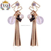 EYQ-00266 korea design leather tassel earrings stud drop earrings with imitation pearl and crystal ball