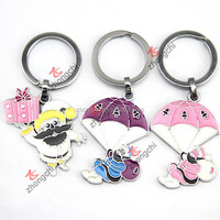 Santa Claus Metal Keychain, Colorful Xmas Metal Key ring For Children Gift