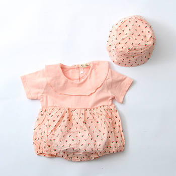 infant child summer baby gilr cute lotus leaf collar cherry pattern fluffy clothes cotton romper