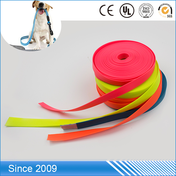 factory price diverse design colorful terylene webbing coated with tpu synthetic material for dog leash