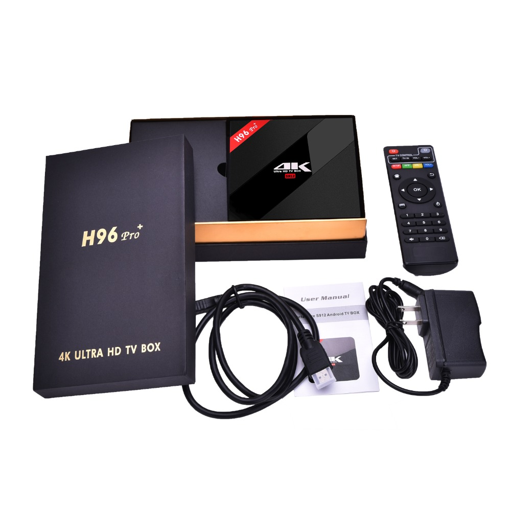 H96PRO+ amlogic S912 3G RAM 32G ROM Android 7.1 dual Wifi Bluetooth 4.1 HD high speed loaded smart tv box