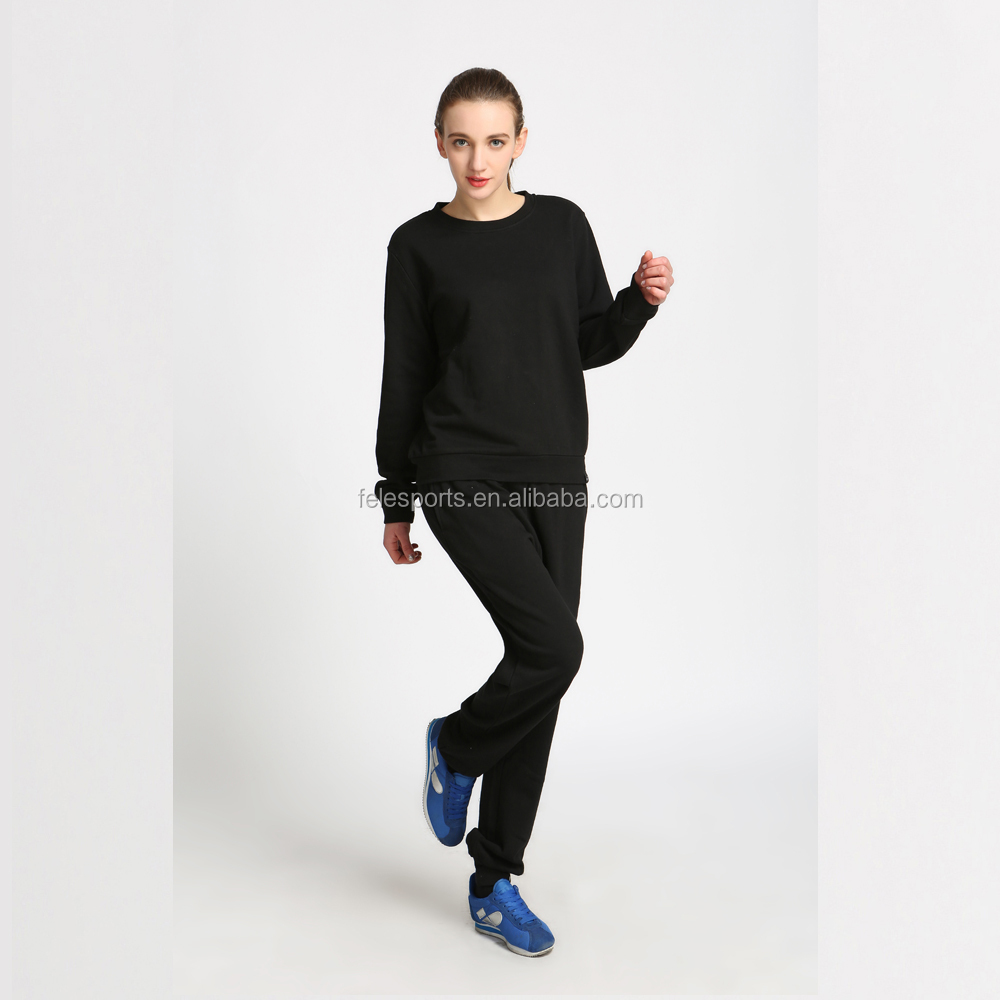 Casual women clothes sport wear black breathable casual sweatshirt