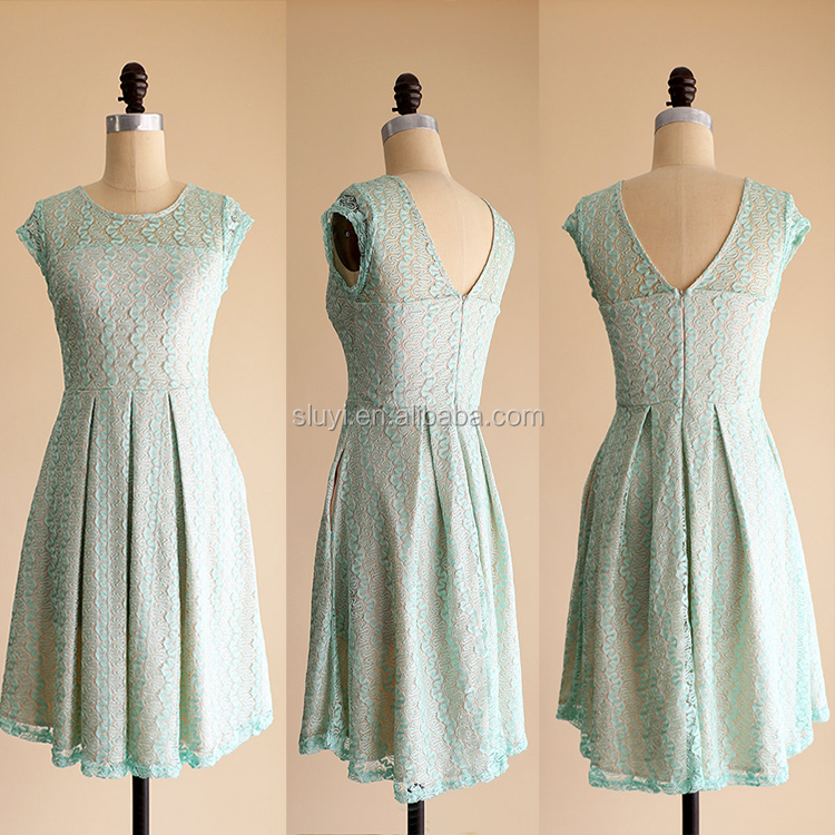 mint green lace dress cap sleeves knee length full pleated bridesmaid dress vintage soft mint green lace midi dresses