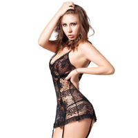Hot sale night wear lingerie full sexy images black sex babydoll dress