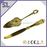 Unique Wedding Gifts Cake Cutters Wedding Bright Gold Color Cake Server