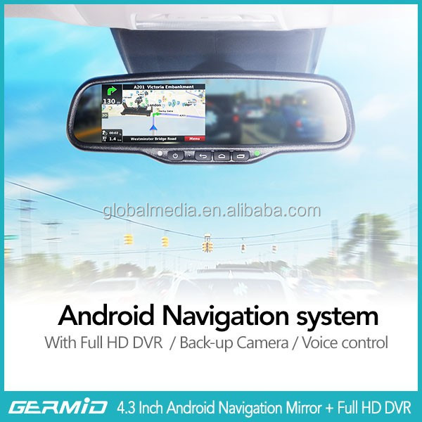 Android rear view mirror monitor with wifi bluetooth dvr backup camera gps google map