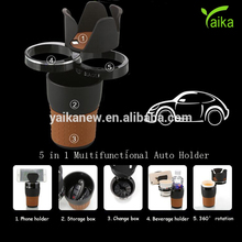 Yaika Multifunctional 5 in 1 Sunglasses Phone Beverage Holder Storage Box Auto Holder for Car