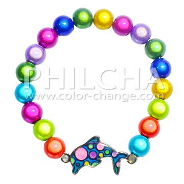 Color Change Mood Dolphin Charm Bracelet With Accessory Miracle Beads