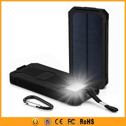 Amazon best sellers 2015 mobile solar charger 12000mah with LED torch light