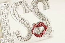 Wholesale Fashion Newest Design Crystal Shiny KISS & LOVE Rhinestone Diamond Back Case for iPhone 6 4.7