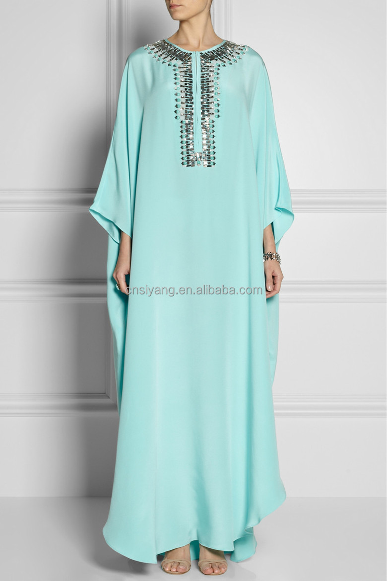 Women spring/summer chiffon beaded maxi kaftan dress SYA15040