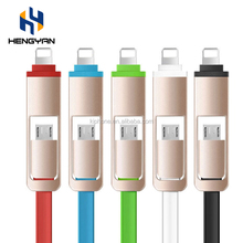 High Quality TPE Multi-Function Logo custom 2 in 1 retractable usb cable for iPhone 7 Samsung S6
