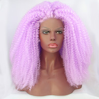 Fashion synthetic lace front wig for african american purple kinky curly hair wigs cosplay wig brazilian afro curly hair weave