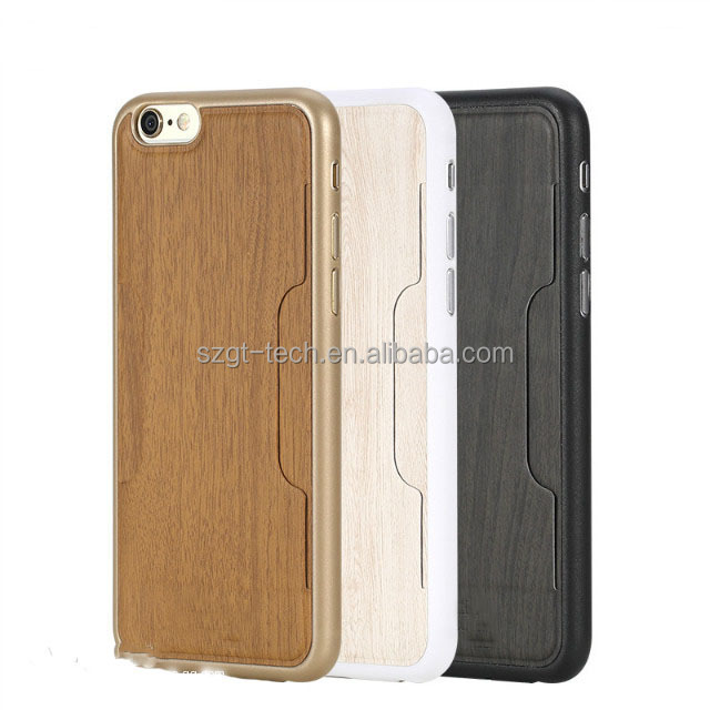 Customized shockproof wood + tpu leather back cover case for iphone 6 6s plus nature blank wood phone cover