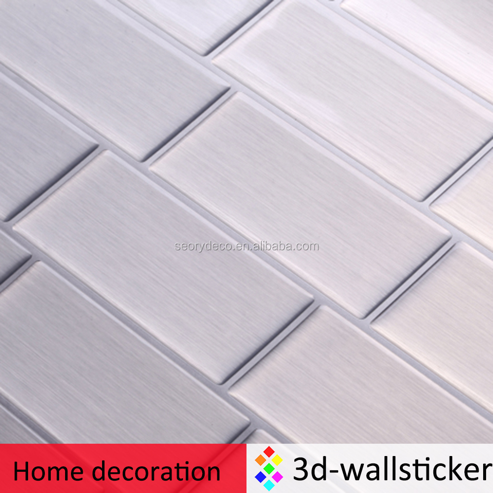 "Peel and Impress 11.25"" x 10"" Adhesive Vinyl Wall Tiles, Steel Subway Tile"