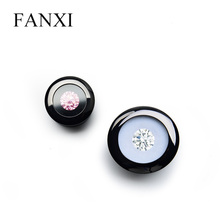 FANXI Cunstom Glossy Black Diamond Display Box With Foam Insert Luxury Metal Loose Diamond Display