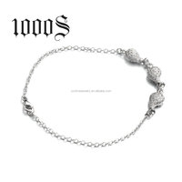 Chain Link With Money Bag Charm Bracelet,925 Sterling Silver Charm Bracelet