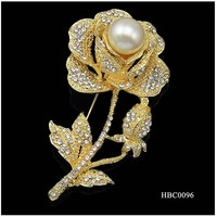 Rhinestone diamond gold Rose brooches pin with matel wholesale