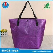 Fugang Purple Color Custom Foldable With Button Non Woven Laser Shopping Bag