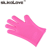 Heat Resistant Slip Resistance Microwave Oven Use Mitts Silicone Hand Gloves with Total Fingers