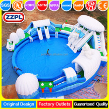 ZZPL Large White Bear Inflatable Water Park for sale, Giant Inflatable Swimming Pool with slide for adults and kids