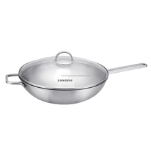 Chinese cooking range stainless steel wok with glass lid