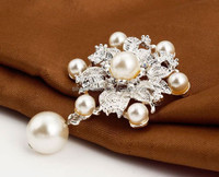 Rhinestone Crystal Wedding Bridal Bouquet Flower big Pearl Brooch
