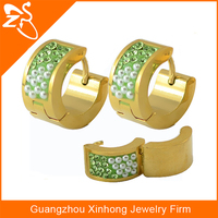 Jewelry stainless wholesale,gold filled hoop earring,fashion lady earring with green pearl hoop huggie earring