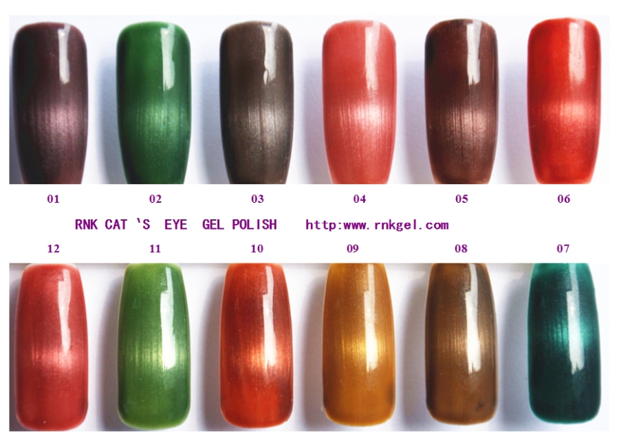 RNK 2015 hot sale 3D magnetic cat eyes uv/led gel glitter colored nail gel polish professional nail salon art products