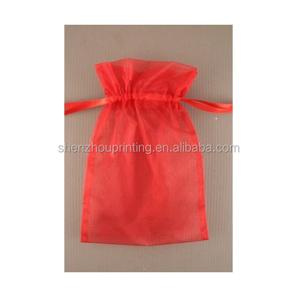 Wholesale recyclable custom gift packing drawstring wedding party christmas birthday favor red organza bag with ribbon