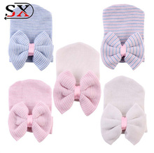 0-3 Months Hospital Newborn Baby Hats Cotton Beanie Soft Knit Tire Striped Infant Caps toddlers Hats With Bow Chinese Supplier