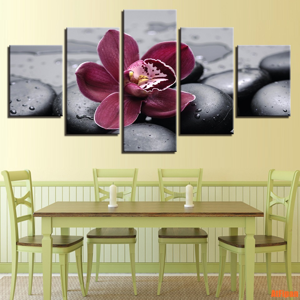 Flower Posters Unframed Wall Art Pictures Home Decor 5 Pieces Purple ...