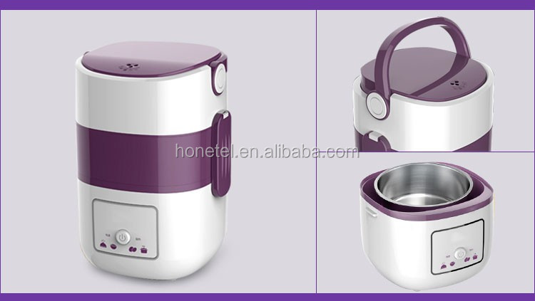 Double Layers hot sellers Factory supply small smart control stainless steel inner pot portable electric lunch box rice cookers