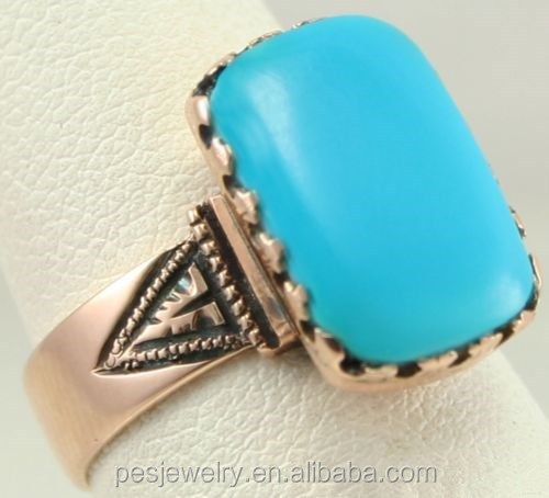 PES Fashion Jewelry! Antique Victorian Natural Persian Turquoise Cocktail Ring (PES6-1899)