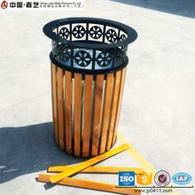 Restaurant open top wood and metal decorative round trash can