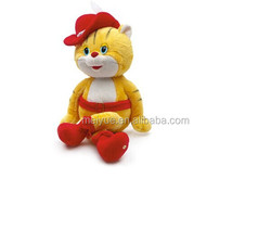 Wholesale plush material toy animal fashion dressing yellow cat/High quality stuffed animal/Plush toy