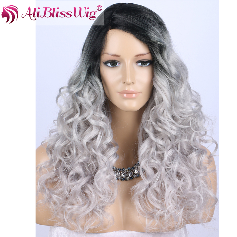 "22"" Heat Resistant Fiber Hair Synthetic <strong>L</strong> Shape Side Part Lace Two Tone Dark Roots Silver Grey Ombre Curly Wig for Black Women"