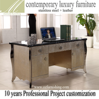 FO428 2016 new fashion contemporary modern golden stainless steel imitated leather upholstery dresser table office desk