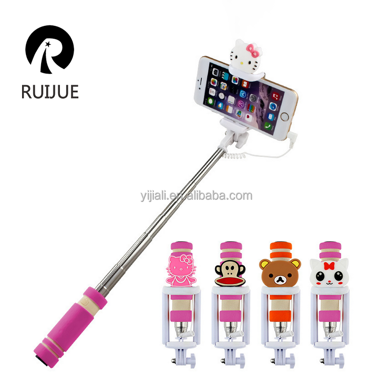 2017 Fashion Mini Monopod, Cable Take Pole Selfie Stick, Cartoon Monopod Selfie-stick