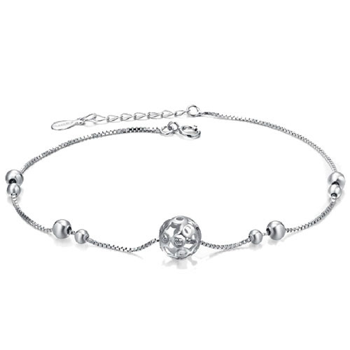 Chic platinum plated anklet 8mm hollowed ball sexy anklet
